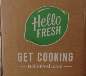 box from Hello Fresh containing three meals