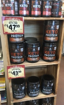 Keto protein display marketed for weight control