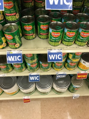 shelves of canned vegetables