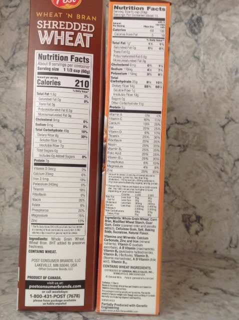 Nutrition Facts for whole wheat cereals