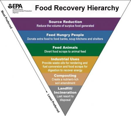 chart describing the hierarchy of food recovery from source reduction (the best way to prevent waste) to feed hungry people to feed animals to industrial uses to composting to landfill or incineration (the least effective way to prevent food waste)