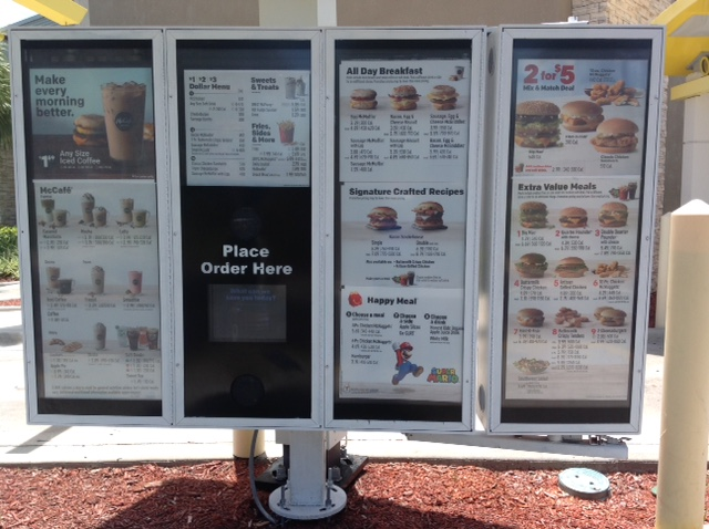 drive-thru menu at a fast-food restaurant