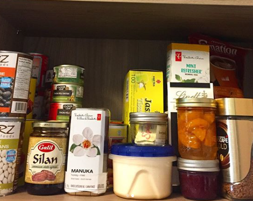 pantry with processed products