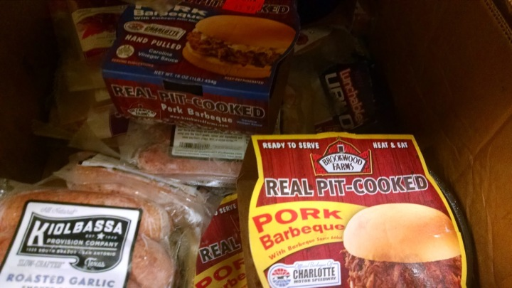 meat products displayed at the local food pantry