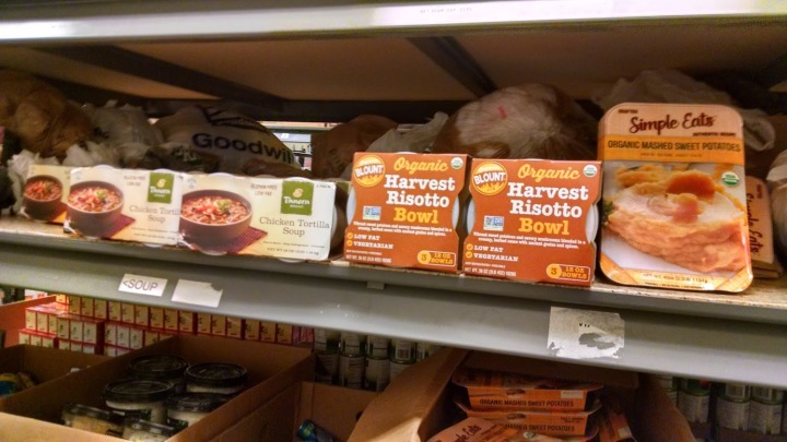 processed foods at the local food pantry