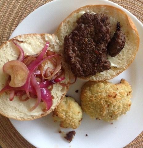 hamburger on a dinner plate