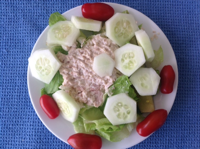 home-made tuna salad on a dinner plate