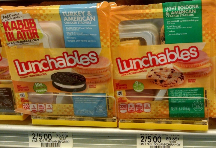 pre-packaged lunches on a grocery store shelf