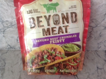 package of Beyond Meat--a plant-based meat substitute