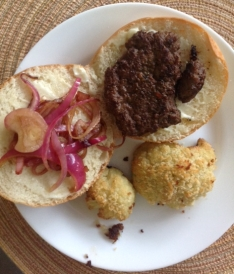 plate of a homemade hamburger