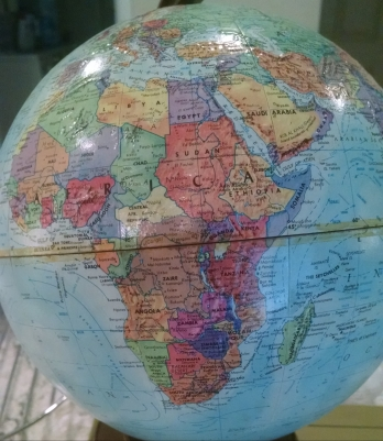 view of a globe featuring the countries of Africa