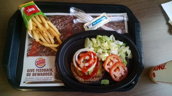 Impossible Whopper meal without the bun from Burger King.