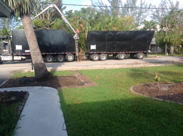truck with a big mechanical claw removing debris caused by Hurricane Irma in 2017. Palm tree in the foreground leaning to one side.