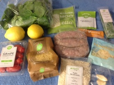 fresh and processed ingredients for a meal from Hello Fresh