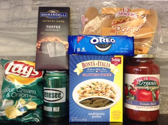 potato chips, chocolate, beer. pasta, Oreo cookies, organic tomato sauce and potato buns