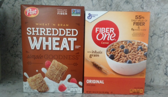 boxes of wheat & bran Shredded Wheat and Fiber One breakfast cereals