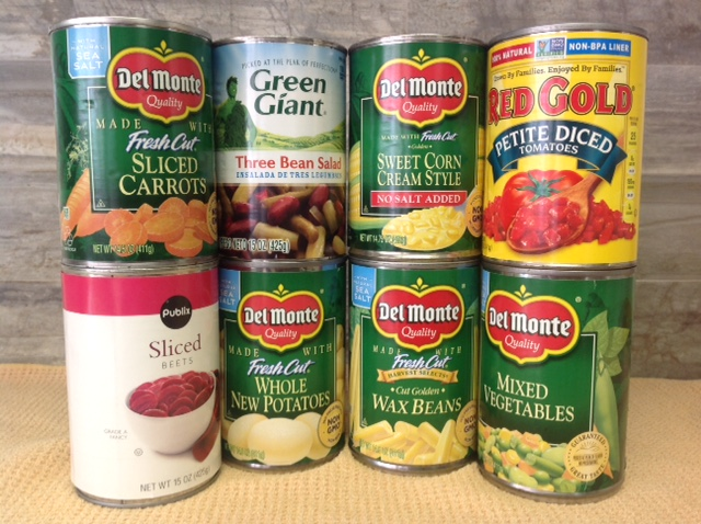 cans of carrots, three bean salad cream corn, diced tomatoes, sliced beets, whole potatoes, wax beans and mixed vegetables