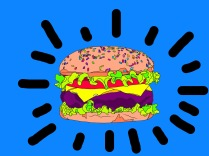 drawing of a stylized hamburger