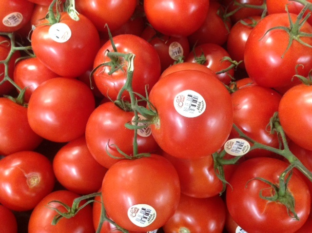 bright red supermarket tomatoes