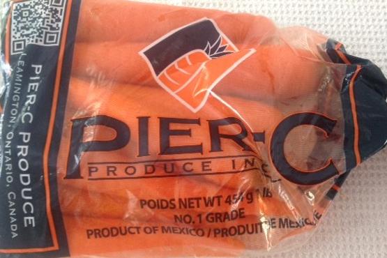 bag of fresh, non-organic, non-local carrots