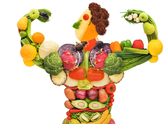 cartoon of a person made up of fruits and vegetables