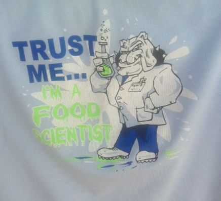 tee shirt with a bulldog dressed up as a scientist