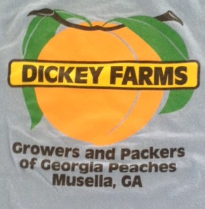 tee-shirt for Dickey Farms, Growers and Shippers of Georgia Peaches Musella, GA