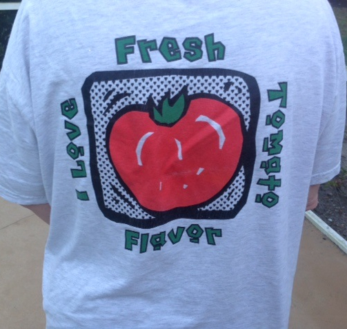 "Tee shirt proclaiming ""I Love Fresh Tomato Flavor"""