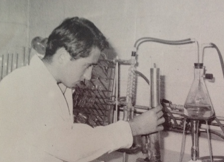 author as a young man in his analytical laboratory