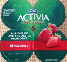 4-pack of Activia strawberry, probiotic yogurt