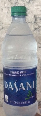 a bottle of Dasani brand water