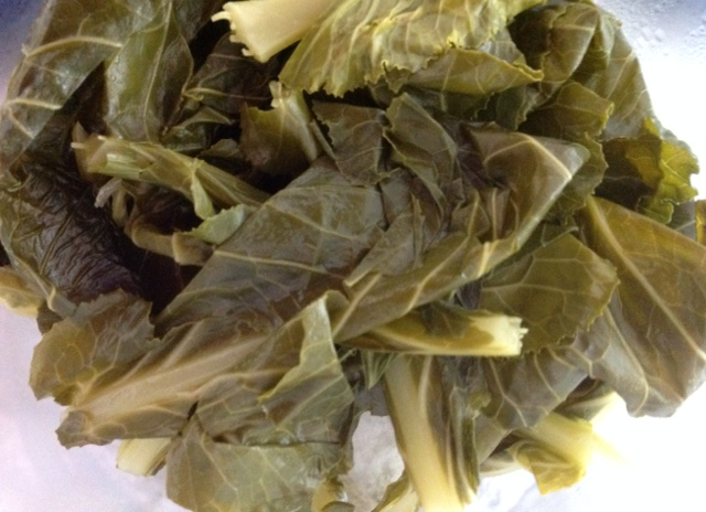 plate of boiled collard greens