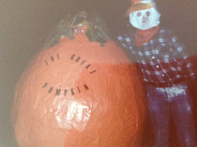 Halloween costumes with the Great Pumpkin and a scarecrow
