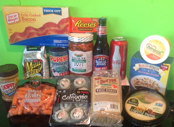 numerous food products including baby carrots, wheat berries, beer, peanut butter, margarine, and hummus