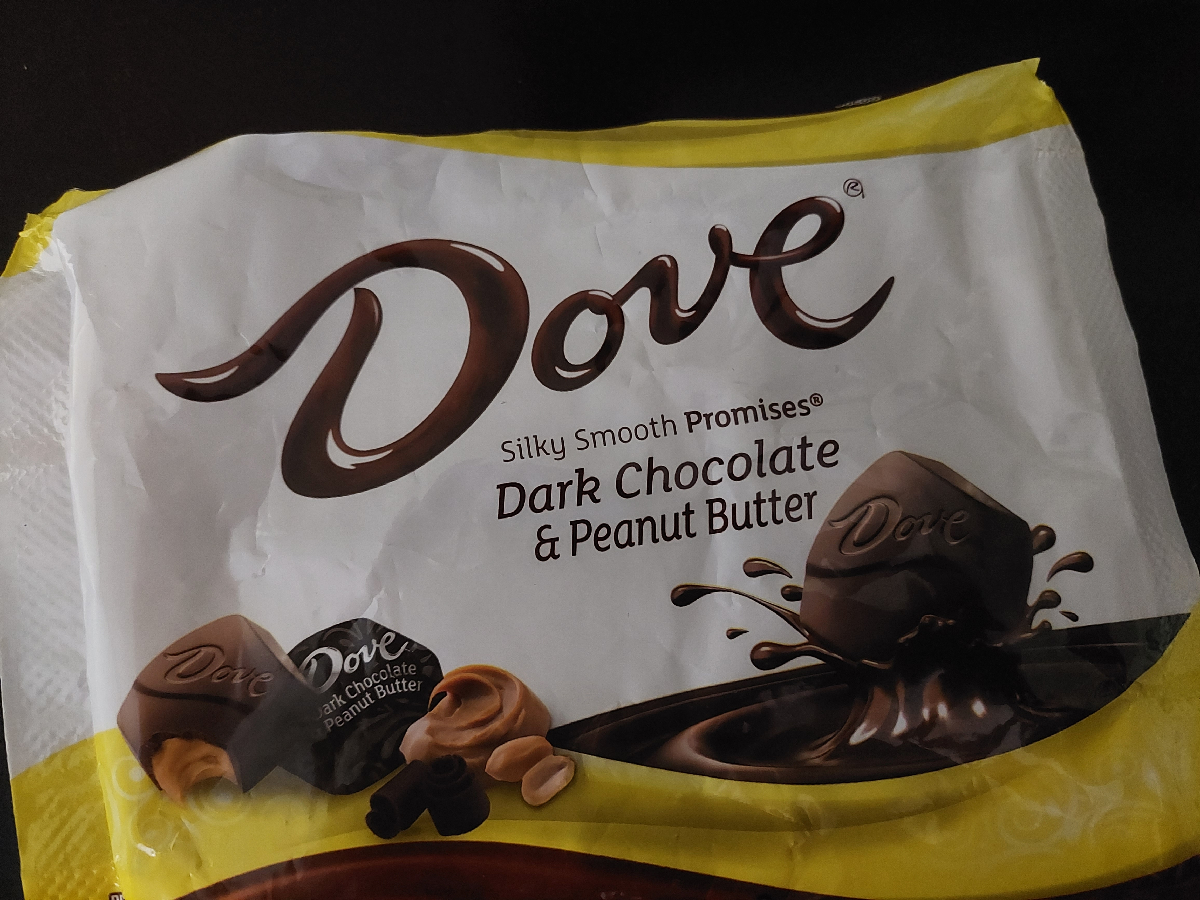 package of Dove dark chocolate and peanut butter candies