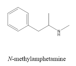 Chemical structure of methylamphetamine or meth