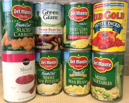 cans of vegetables