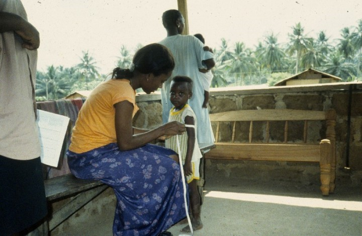 African child being measured for adequacy of diet